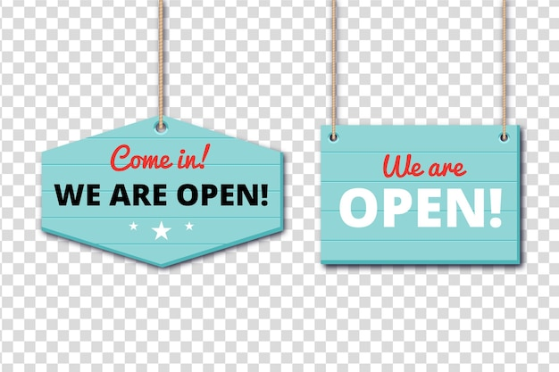 We zijn open tekenconcept Gratis Vector