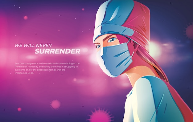 We zullen ons nooit overgeven, dokter illustratie Premium Vector