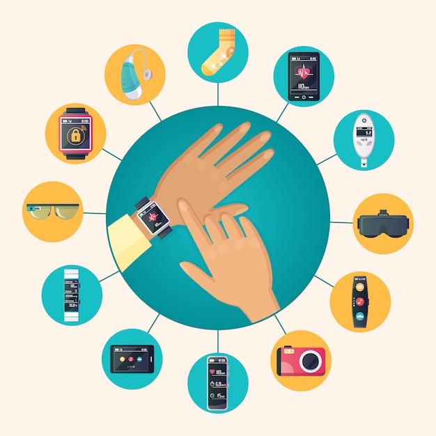 Wearable technologie elektronische producten platte cirkel pictogrammen samenstelling poster met polshorloge Gratis Vector