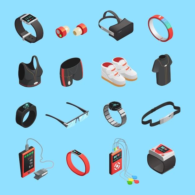 Wearable technologie isometrische icons set Gratis Vector
