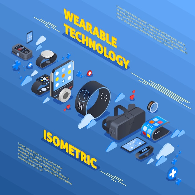 Wearable technologie isometrische samenstelling Gratis Vector