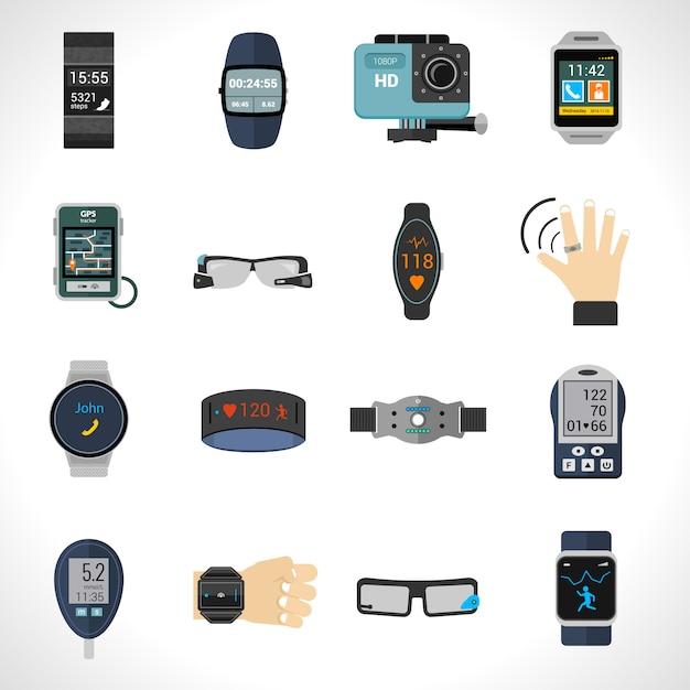 Wearable technologie pictogrammen Gratis Vector