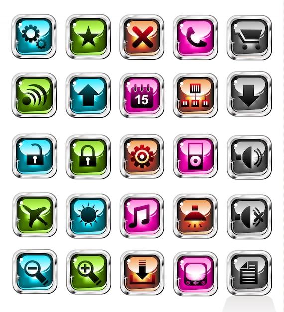 Web aankopen knoppen icon set Premium Vector