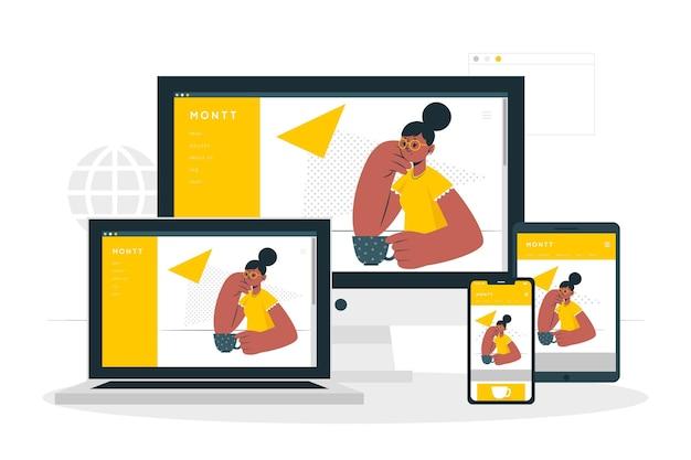 Web apparaten concept illustratie Gratis Vector