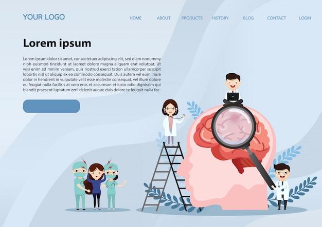 Web banner sjabloon. menselijke hersenslag. Premium Vector