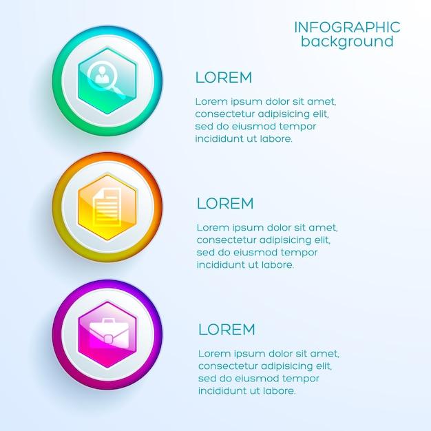 Web bedrijfs infographic concept met drie opties kleurrijke glanzende zeshoeken en pictogrammen geïsoleerd Premium Vector