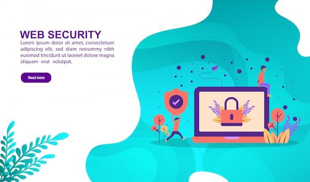 Web beveiliging illustratie concept met karakter. bestemmingspaginasjabloon Premium Vector