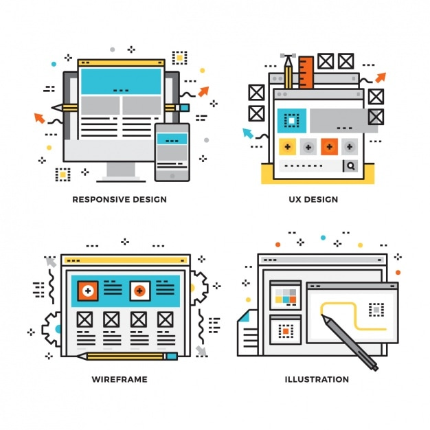 Web design proces Gratis Vector