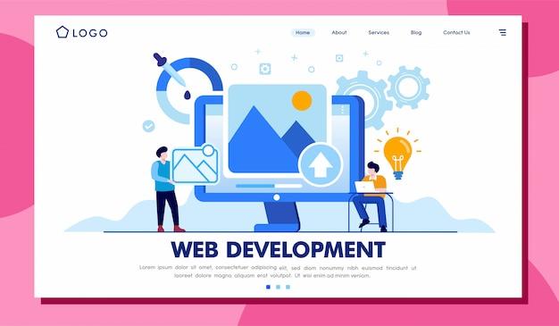 Web development landingspagina illustratie sjabloon Premium Vector
