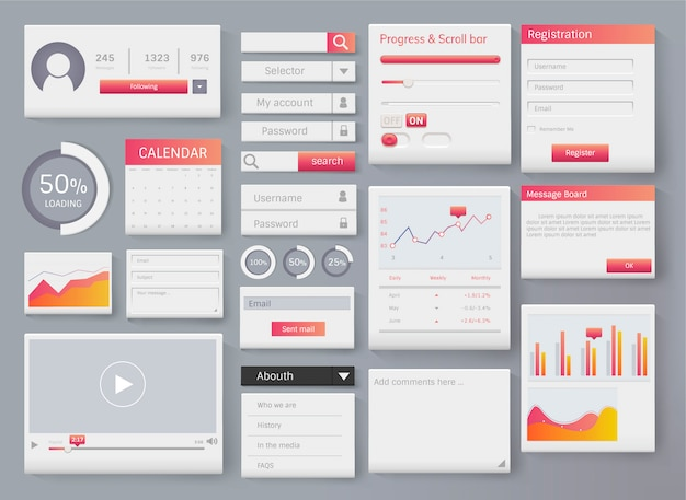 Web-element lay-out sjabloon interface illustratie Gratis Vector