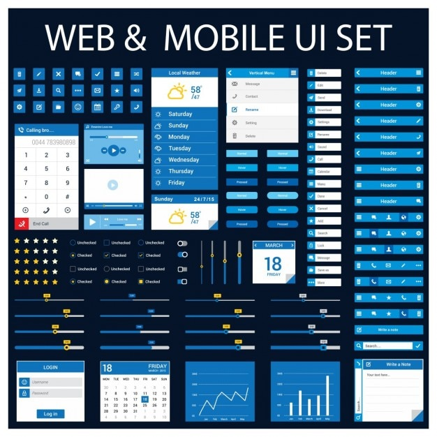 Web en mobiele applicatie design element set Gratis Vector