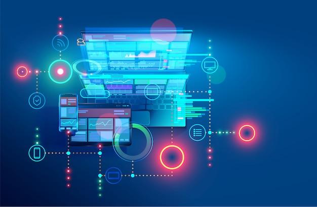 Web- en offline-app ontwikkelen, ontwerpen en coderen. ontwerp van interface en code van programma's. Premium Vector