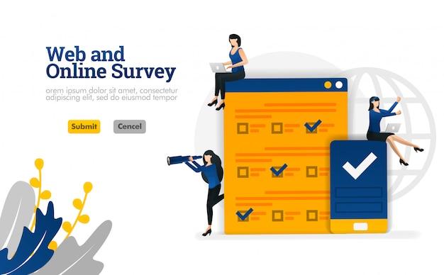Web- en online-enquête voor marketing, reclame en consultants vector illustratie Premium Vector