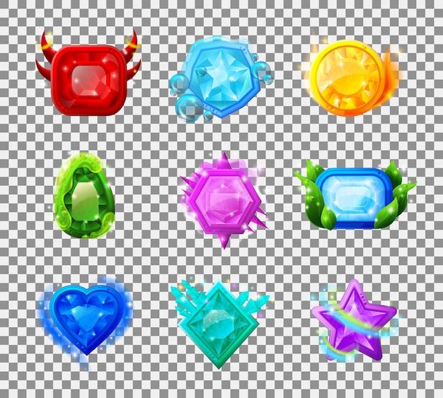 Web game magic gems Gratis Vector