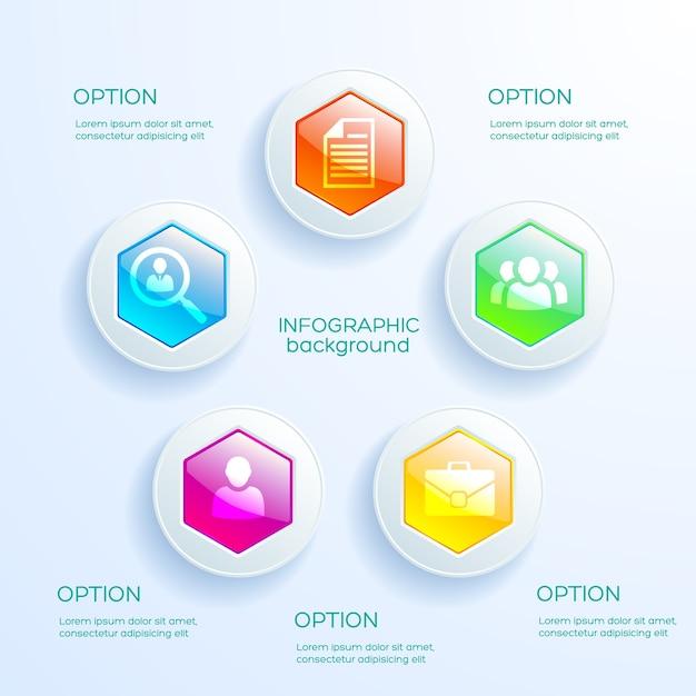 Web infographic concept met kleurrijke glanzende zeshoekige grafiek en bedrijfspictogrammen geïsoleerd Premium Vector