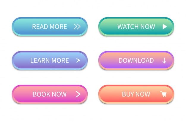 Web knoppen-interface. moderne knoppen voor sites. pictogrammen. Premium Vector