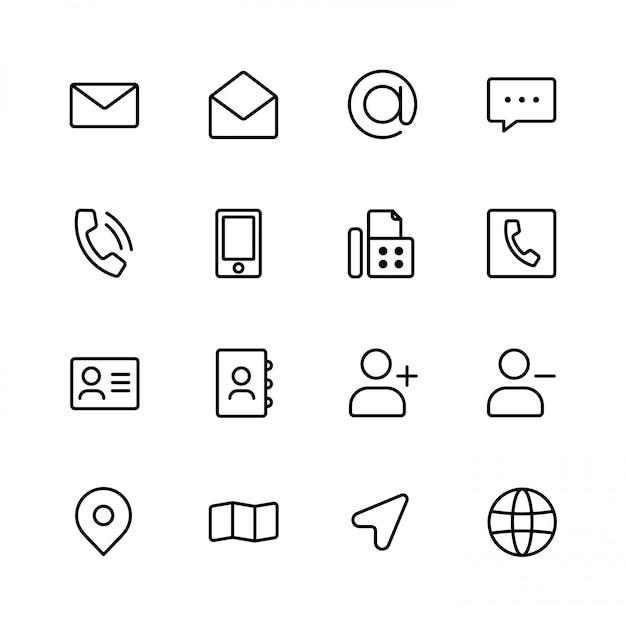 Web mobiele contacten pictogrammen Premium Vector