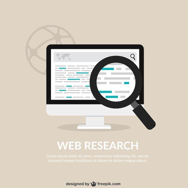 Web onderzoek achtergrond Gratis Vector