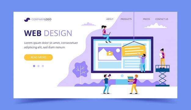 Web ontwerp bestemmingspagina - illustratie met kleine mensen doen verschillende taken, grote monitor met een website. Premium Vector