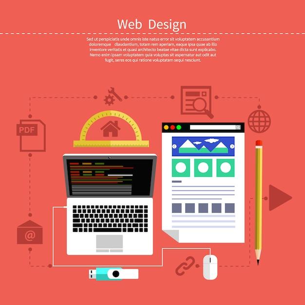 Web ontwerpconcept. laptop monitor met het scherm van het programma voor ontwerp en architectuur in platte ontwerp. instellen voor web- en mobiele toepassingen van webdesign Premium Vector