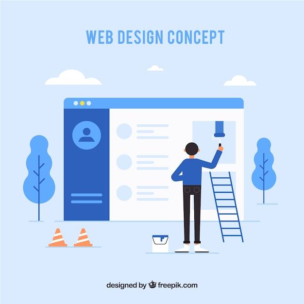 Web ontwerpconcept met vlakke stijl Gratis Vector