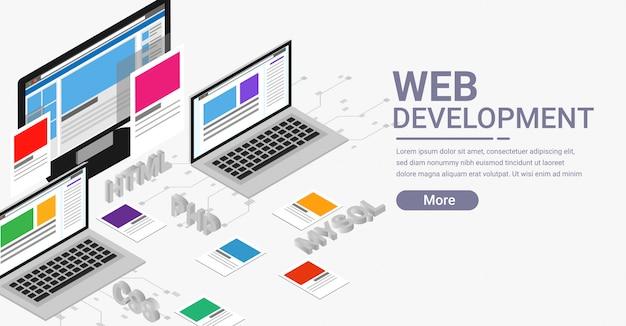 Web ontwikkeling isometrische banner Premium Vector