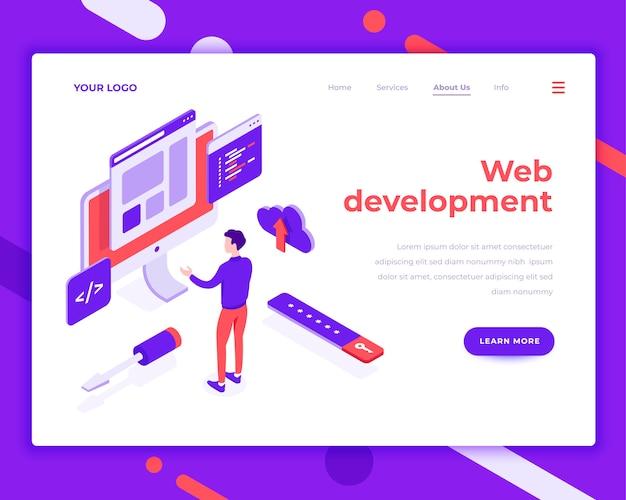 Web ontwikkeling teamwerk mensen en interactie met site isometrische vectorillustratie Premium Vector