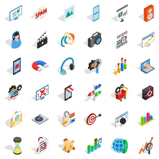 Web operatie iconen set, isometrische stijl Premium Vector