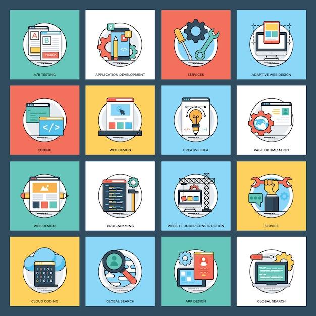 Web services vlakke pictogrammen Premium Vector