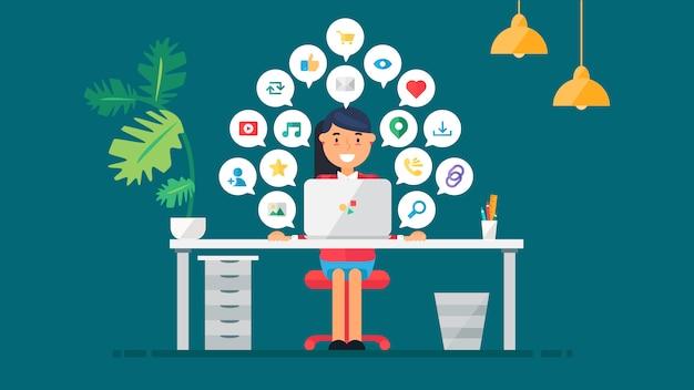 Web sociaal netwerkconcept voor blog en sociale netwerken, online winkelen en e-mail, bestanden met video, afbeeldingen en foto's. elementen voor het tellen van views, likes en reposts. vector Premium Vector