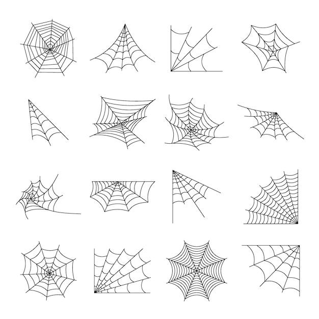 Web spider cobweb pictogrammen instellen Premium Vector