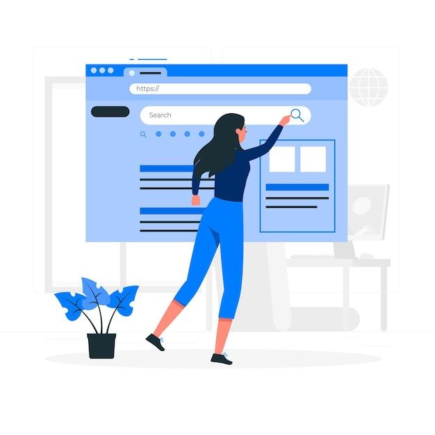 Web zoeken concept illustratie Gratis Vector