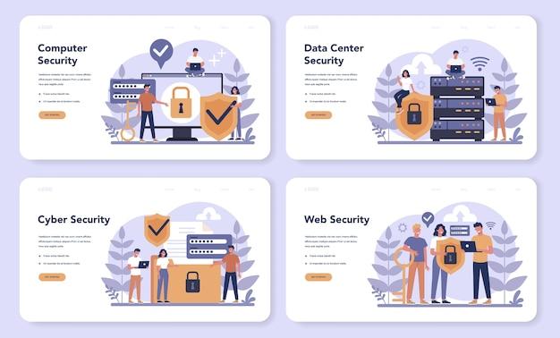Webbanner of bestemmingspagina-set voor cyber- of webbeveiliging Premium Vector