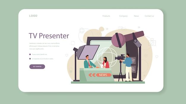 Webbanner of bestemmingspagina van tv-presentator. televisiepresentator in de studio. omroep die voor de camera spreekt en nieuws rapporteert. Premium Vector