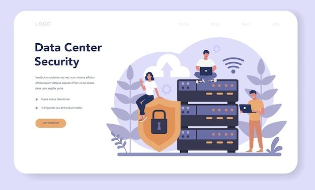 Webbanner of bestemmingspagina voor cyber- of webbeveiliging Premium Vector