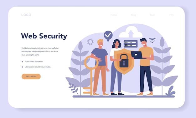 Webbanner of bestemmingspagina voor cyber- of webbeveiliging. Premium Vector