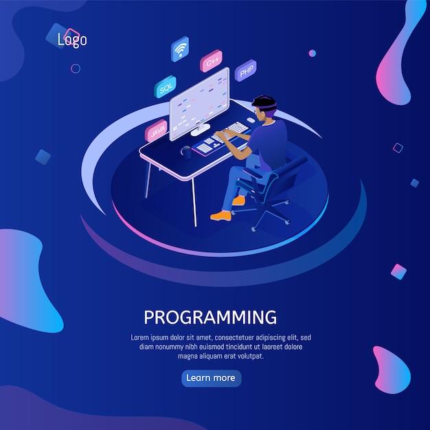 Webbanner programmeren met ingenieur op het werk. Premium Vector