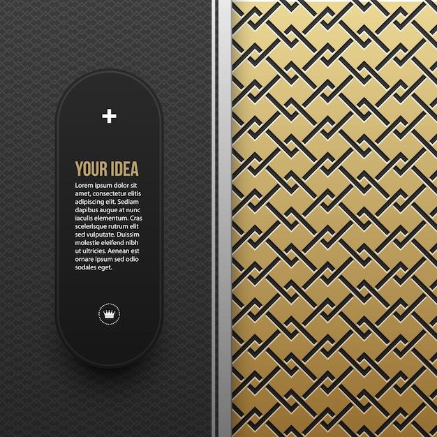 Webbanner sjabloon op gouden metalen achtergrond met naadloze geometrische patroon. elegante luxestijl. Premium Vector