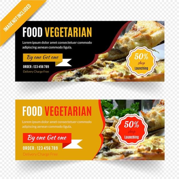 Webbannerontwerp voor restaurant Premium Vector
