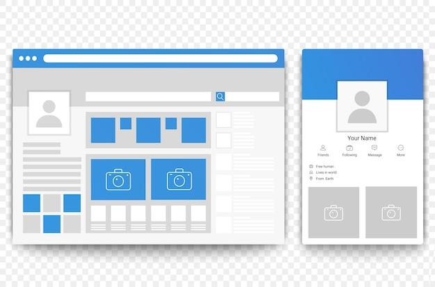 Webbrowser voor sociale netwerken en mobiele pagina's. concept van de sociale illustratie van de pagina-interface Premium Vector