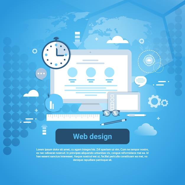 Webdesign grafische programmaconceptenbanner Premium Vector
