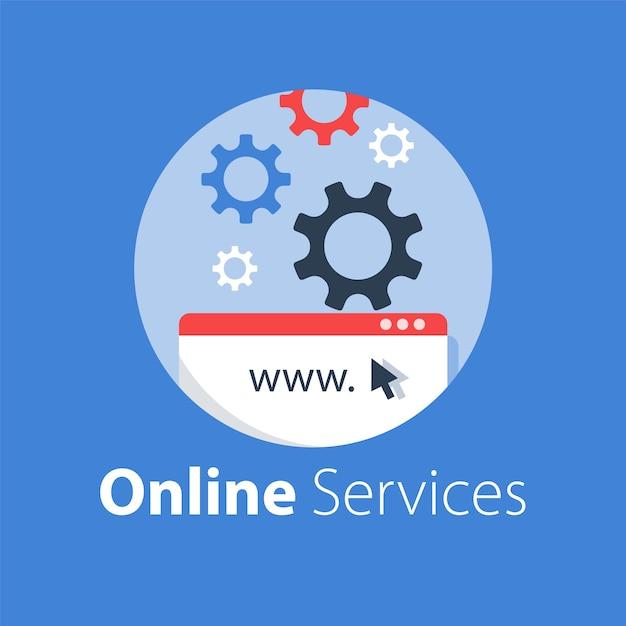 Webdesign, internettechnologie, softwareontwikkeling, hostingservices, online oplossing, illustratie Premium Vector