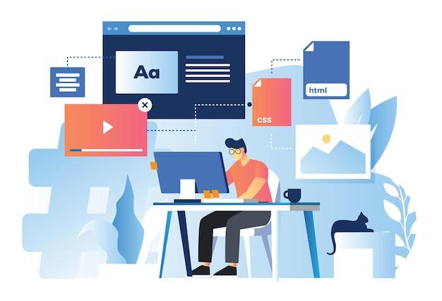 Webdesigner die front-end-technologie ontwikkelt Premium Vector