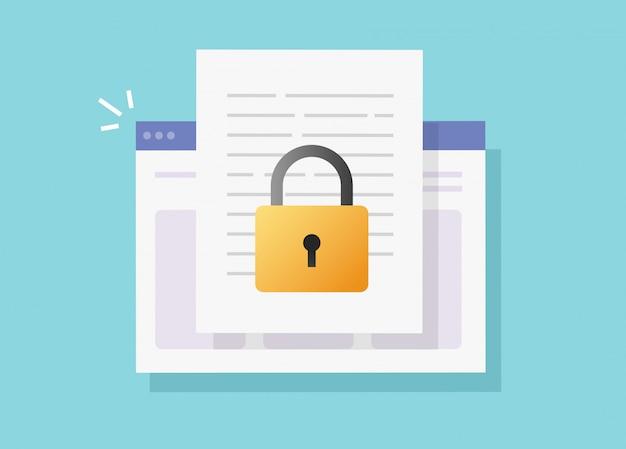 Webdocument veilige vertrouwelijke online toegang op internetwebsite vector geïsoleerd of digitale privacyvergrendeling op platte tekstbestandpictogram Premium Vector
