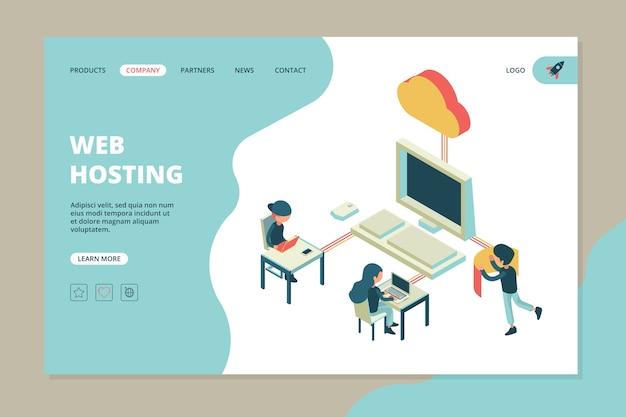 Webhosting landing. zakelijke webpagina computer cloud server hardware technologie engineering internet communicatie sjabloon Premium Vector