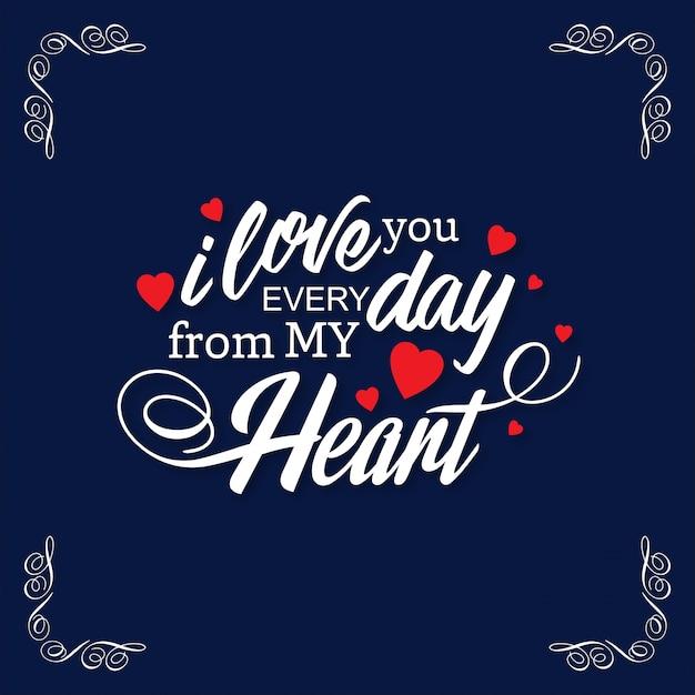 Webik hou elke dag van mijn hart met frame donkere achtergrond Gratis Vector