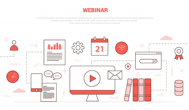 Webinar concept met icon set collectie zoals computer video play chat kalender boek netwerk Premium Vector