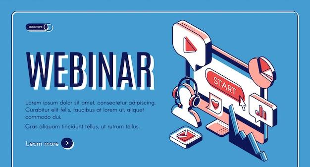 Webinar, conferentie, videoseminar, banner voor online onderwijs. Gratis Vector