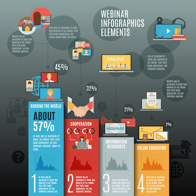 Webinar infographic vlakke lay-out Gratis Vector