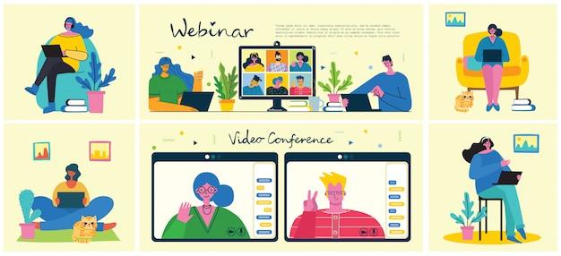 Webinar online bedrijfsoplossing. mensen gebruiken videochat op desktop en laptop om een conferentie te houden. werk op afstand vanuit huis. plat moderne illustratie. Premium Vector
